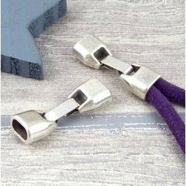 fermoir clip plaque argent pour cuir demi rond