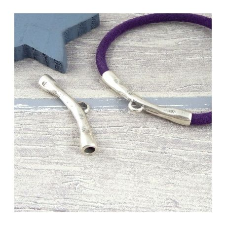 Intercalaire tube antique argent beliere pour cuir rond 4 et 5mm