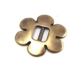 perle passante fleur evidee bronze pour cuir 5mm