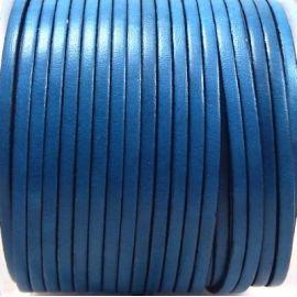 Cuir plat 3mm bleu turquoise fonce