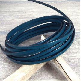 Cuir plat 3mm bleu petrole