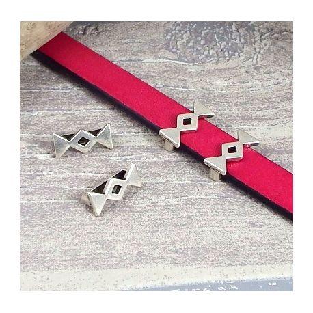 2 passants ethniques triangle inverses zamak plaque argent pour cuir plat 10mm