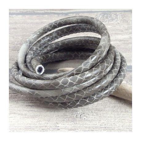 cordon cuir PU reptile gris 5mm