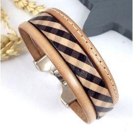 Kit bracelet cuir naturel style foulard