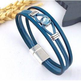 Kit tutoriel bracelet cuir bleu cristal swarovski avec perles et fermoir plaque argent