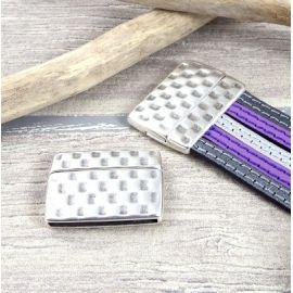 Fermoir magnetique martele haute qualite argent pour cuir plat int 30mm