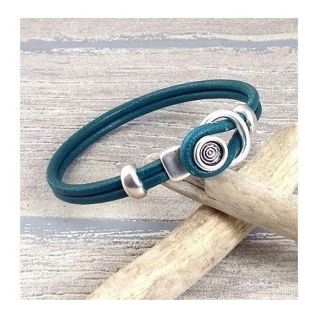 kit tutoriel bracelet cuir rond bleu petrole et fermoir boucle argent