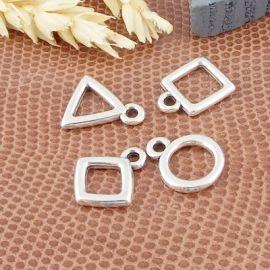 4 pendentifs geometriques plaque argent 13mm