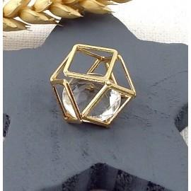 Pendentif geometrique cristal polygone flashe or 24k 21mm