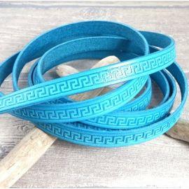 Cuir plat 10mm turquoise motifs grec