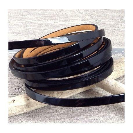 cuir plat 5mm verni noir double