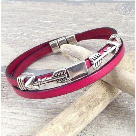 Kit bracelet cuir fuchsia perles ethniques et fermoir magnetique bronze