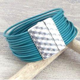 Kit bracelet cuir gris rock fermoir martele argent et son tutoriel