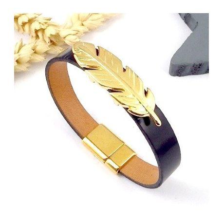 Kit bracelet cuir noir verni et plume or avec tutoriel