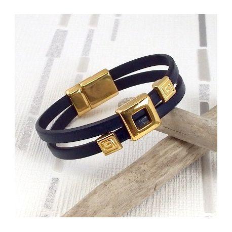 Kit bracelet cuir bleu marine et or geometrique avec tutoriel
