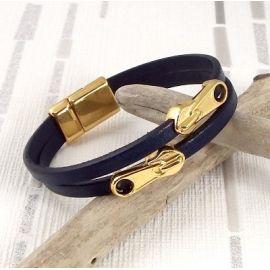 Kit bracelet cuir bleu marine et or style zip avec tutoriel