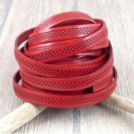 Cordon cuir plat 10mm imprime briques gravees rouge