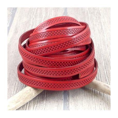 Cordon cuir plat 10mm imprime chaine rouge