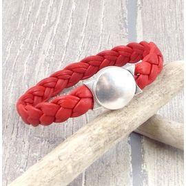 Kit bracelet cuir rouge tresse fermoir rond argent 3000