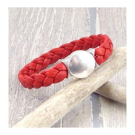 Kit bracelet cuir rouge tresse fermoir rond argent