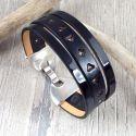 Kit bracelet manchette cuir noir verni et argent