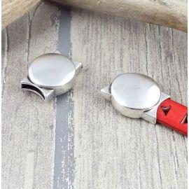 Fermoir magnetique forme ronde argent pour cuir 10mm