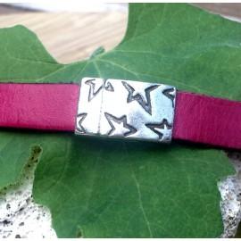 Fermoir magnetique avec fleurs plaque argent pour cuir 10mm