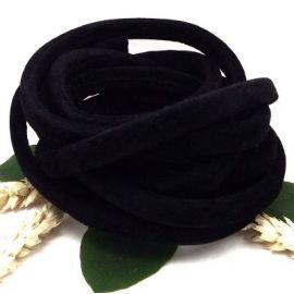 Cordon suedine facon regaliz noir