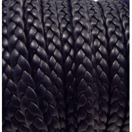 Cuir plat 6mm tresse noir