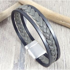 Kit bracelet cuir homme gris et argent vieilli fermoir argent