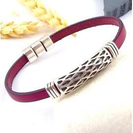 Kit bracelet cuir homme bordeaux ethnique argent 2992