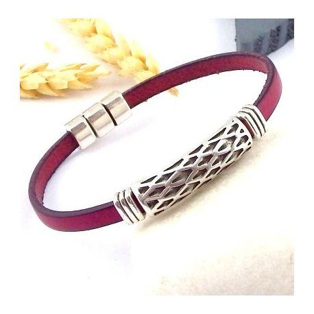 Ethnique Cuir Kit Pour Bracelet Et Argent Homme Bordeaux YE2WHID9