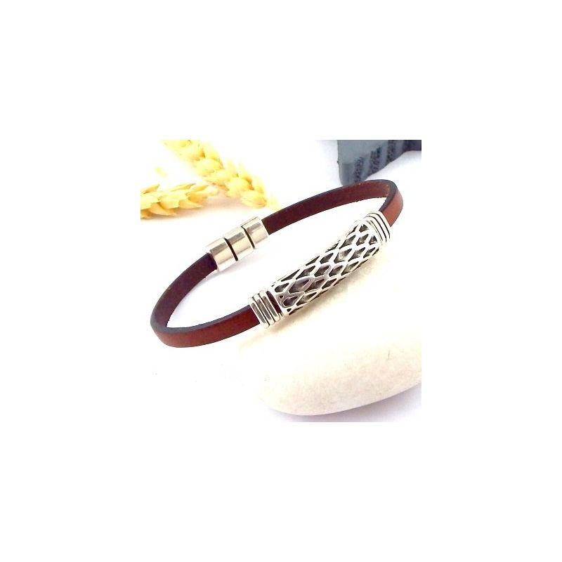 kit bracelet cuir pour homme bordeaux et argent ethnique. Black Bedroom Furniture Sets. Home Design Ideas
