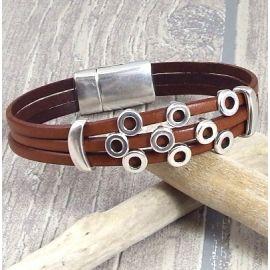 kit bracelet cuir marron cercles argent pour