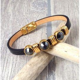 Kit bracelet cuir verni noir avec perles cristal et or