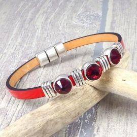 Kit bracelet cuir rouge Nathalie avec perles cristal et argent