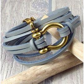 Kit tutoriel bracelet cuir homme nautic gris manille bronze