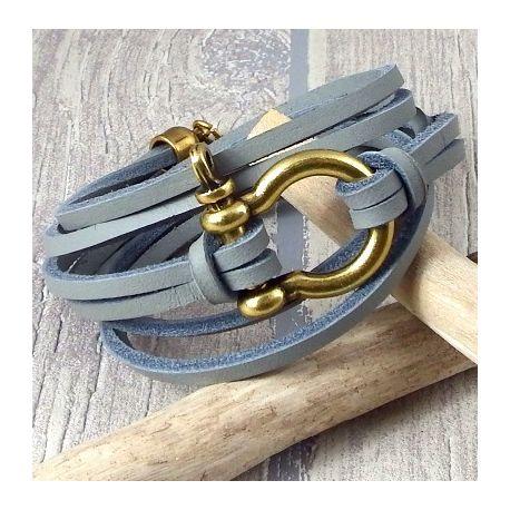 kit tutoriel bracelet cuir homme nautic noir fermoir clip bronze