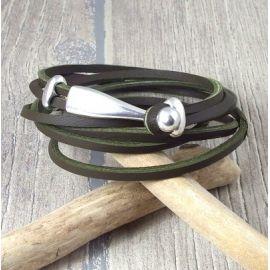 Kit tutoriel bracelet cuir homme nautic kaki fermoir boucle boule argent