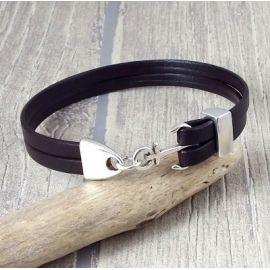 Kit bracelet cuir homme marron ancre marine et fermoir argent