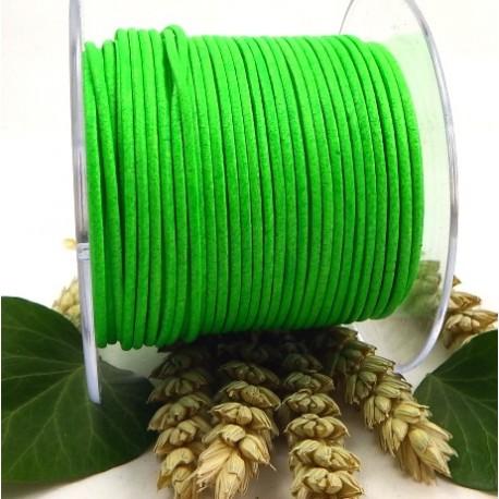 Cuir rond 2mm vert fluo