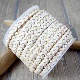 Cuir plat 5mm tresse ivoire metal