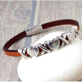 Kit bracelet cuir marron perles coeur argent