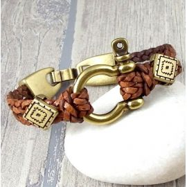 kit bracelet cuir tresse camel manille bronze