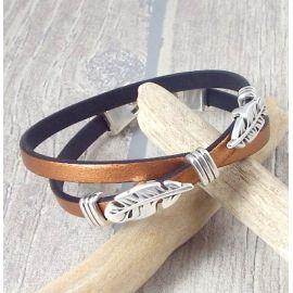 Kit bracelet cuir kaki fleches et fermoir argent