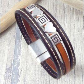 Kit bracelet cuir marron coutures coeurs argent avec tutoriel