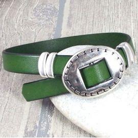Kit bracelet cuir vert tendance homme ethnique fermoir ajustable 2973