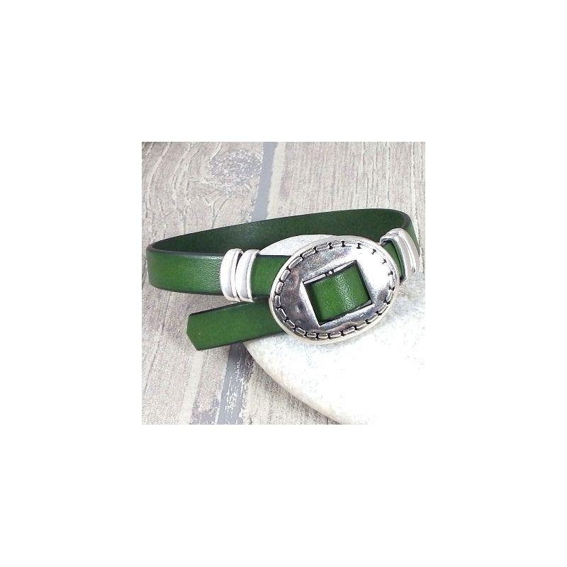 kit bracelet cuir vert fermoir ethnique ajustable argent. Black Bedroom Furniture Sets. Home Design Ideas