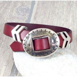 Kit bracelet cuir bordeaux tendance homme ethnique fermoir ajustable 2972