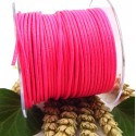 Cordon cuir rond 2mm rose fluo